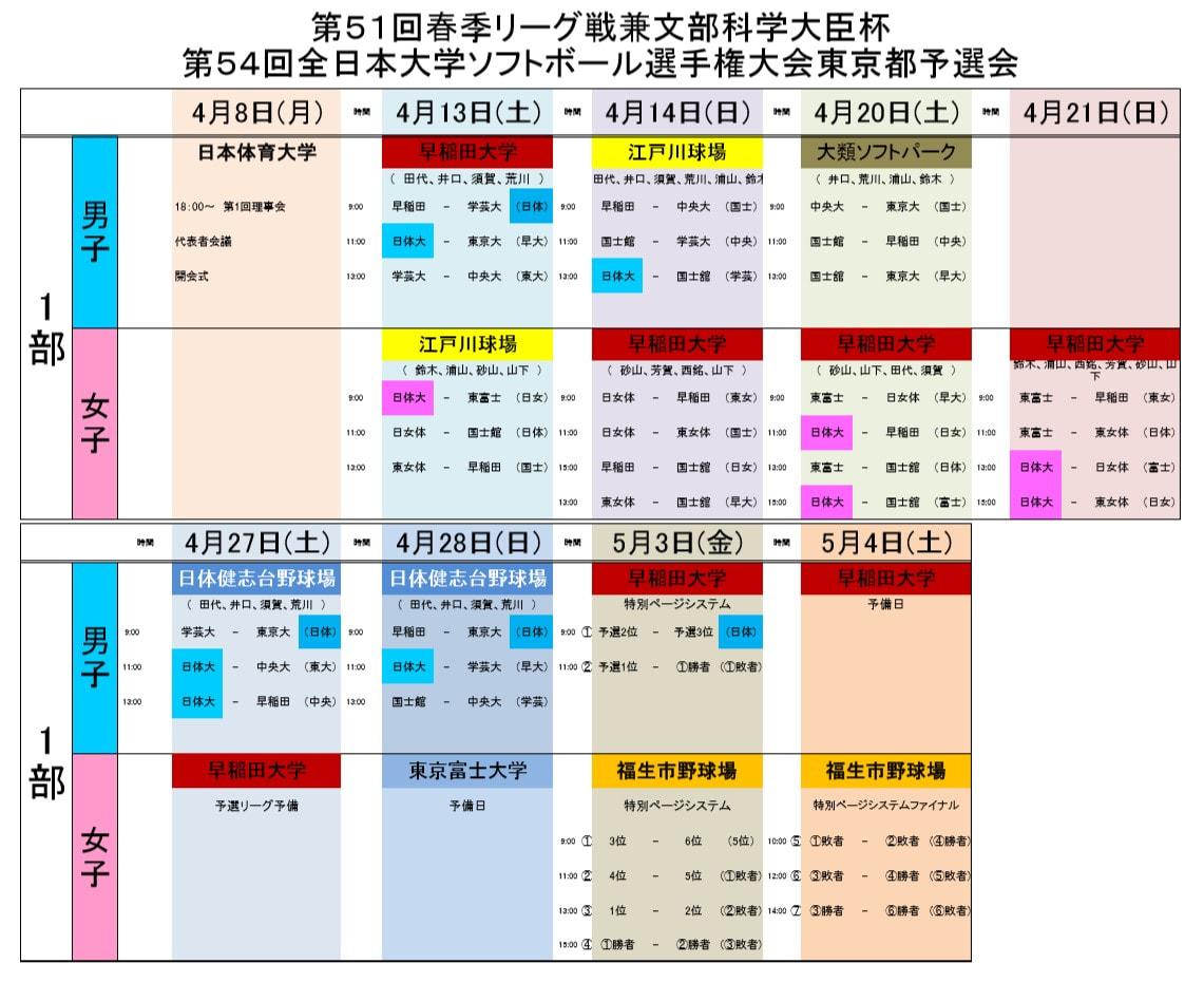 [男子]第51回春季リーグ戦 試合日程